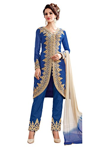 Kanchnar Indian Ethnic Blue Embroidered Unstitched Cotton Party Wear Dress Material With...