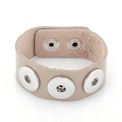 Andante BRACCIALE in pelle per Chunks Click Buttons chiusura con bottone a pressione (18-22cm) colore: tortora