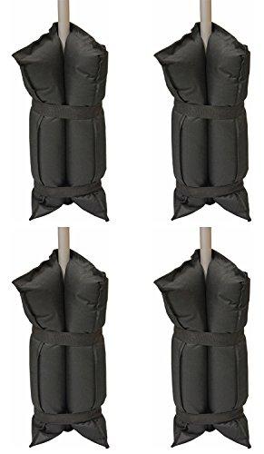Andes - Lot de 4 sacs de lestage - à remplir de sable - pour pieds de tonnelle/grande tente - noir