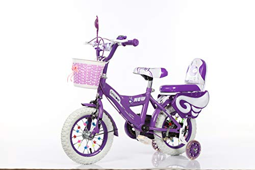 Geekbot Bicicletta bambino ragazza 12 pollici – Bambino 3-6 anni – Pneumatico gonfiabile – Vestibilità comoda – Piccola cablata – Pneumatico principessa con pneumatici bianchi - 6