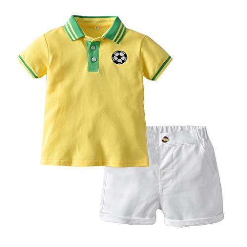 SUNFANY 2 Pcs Baby Jungen Bekleidung Set Festliche Kleidung Kleinkind Herren Anzüge Kurzarm Sport FußballShirt + Shorts Hosen Set Gentleman Party Passen(Gelb,80/6-12 Monate) -