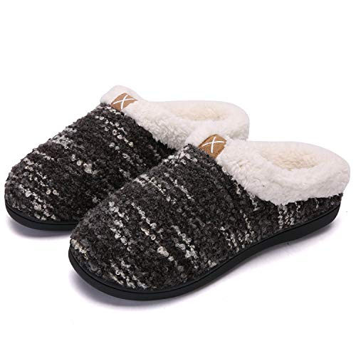 adituob Donne Pantofole Invernali Scarpe Comfort Memory Foam Scarpe con Suola in Gomma Antiscivolo per Indoor Outdoor Nero-bianca36-37