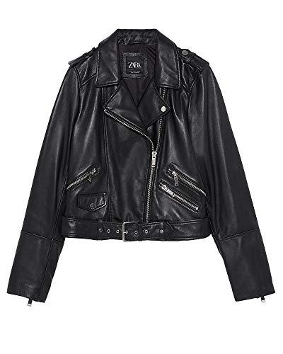 ZARA Damen Bikerjacke aus Leder 5479/001 (X-Large)
