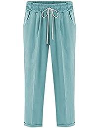 Talla Grande Pantalones De Lino para Mujeres Pantalones Chinos Casual Pantalón  Cintura Elástica d8387d2afa6a