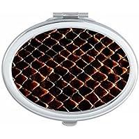 Oscuro Negro báscula de piel de serpiente Oval Compacto Maquillaje Espejo de bolsillo portátil cute pequeña
