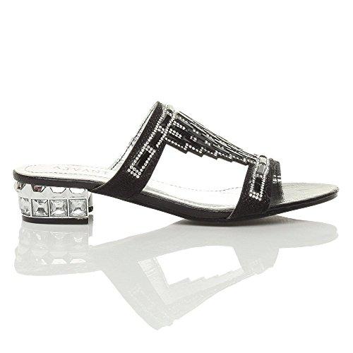 Donna tacco basso strass gemma sera matrimonio ciabatte sandali infradito taglia Nero