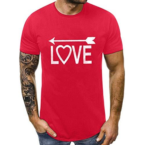 Alwayswin Herren und Damen Valentinstag O-Neck Letters Slim Fit Kurzarm T-Shirt Mode Einfarbig Bluse Tops Sommer Wild T-Shirt Tee Paar-T-Shirt -
