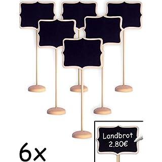 HOMETOOLS.EU® - 6x Klassische Tisch Tafel Holz mit Stand-Fuß beschreibbar | Buffet, Party, Feier, Hochzeit, Deko | Vintage Landhaus, Classic, 6er Set