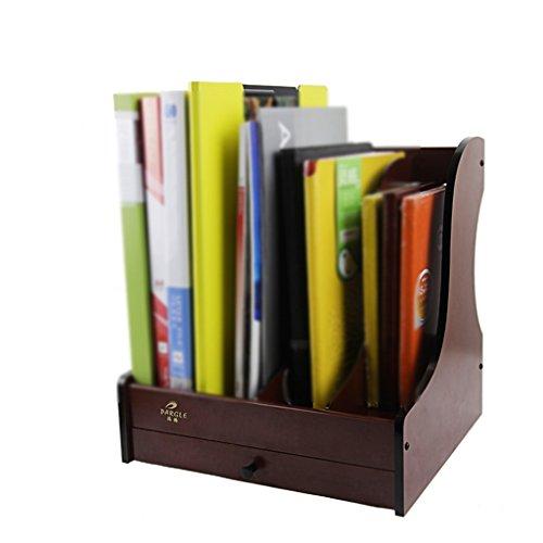 JIN PING Beautiful Homes® Soporte de libro, moda de escritorio de madera estante del libro del cajón del estante del soporte de la caja de almacenaje del estante del compartimiento del libro
