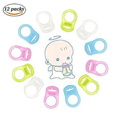 BBLIKE Adaptateur de Sucette Pour Bébé en Silicone Qualité Supérieure - Anneaux de Support Pour Connecter Des Clips De Sucette et De Sucette Pour Bébé (12 Paquets)
