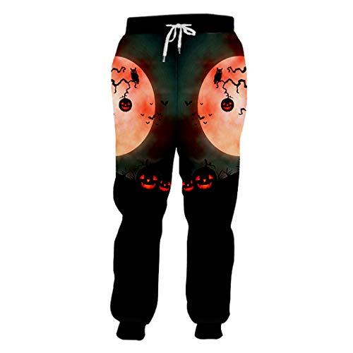 Halloween-Thema Runde Moon Sweatpants 3D Laterne Baum gedruckt rotäugiger Kürbis Red Eyed Pumpkin M -