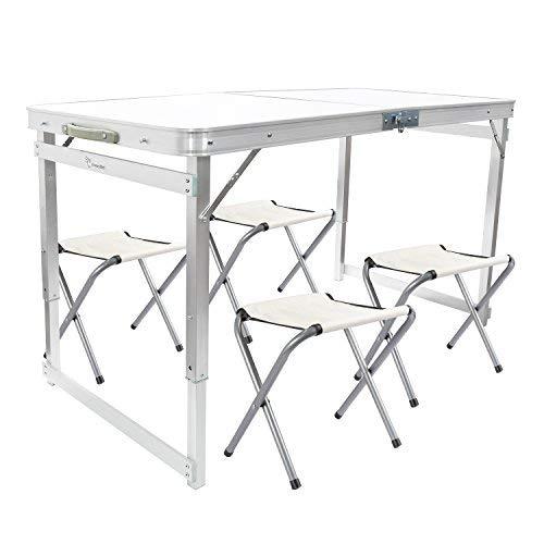 FranczyBird Mesa de Picnic Plegable con 4 sillas, Altura Ajustable, portátil y Ligera, para Exteriores, Camping, Picnic, Barbacoa, Fiesta y Comedor