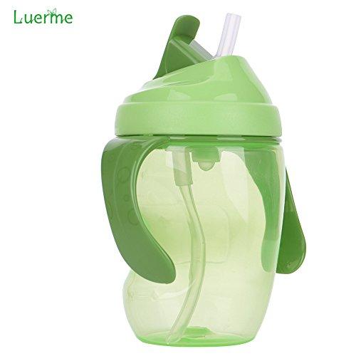 260ml Baby Trinkflasche, Luerme Kinder Strohhalm Wasserflasche Auslaufsicher Trinklernflasche Trinklernbecher mit Handgriff, Druckschalter Design