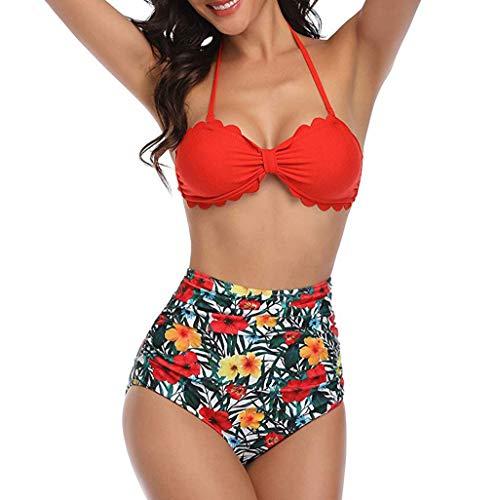 Bikini-Sets Damen, Geteilter Badeanzug Frauen High Waist Geblümte Schwimmanzug Muschel-Kante Neckholder Slip Bikinihosen Badeanzüge Bademode Strandmode Swimsuit (Rot, L) - 6