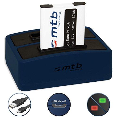 Akku + Dual-Ladegerät (USB) EA-BP70A für Samsung PL20, PL80, PL90, PL100.. | ST30.. | ES80.. | AQ100 | DV150F | MV800 | WP10 uvm... - s. Liste! (inkl. Micro-USB-Kabel) -