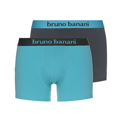 Bruno Banani Herren Boxershorts Short Flowing, 2er Pack, Mehrfarbig (Grüngrau//Aquamarin 2392), Medium