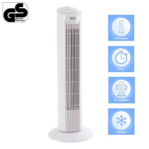 TECVANCE Säulenventilator, Turmventilator in weiß   90° Oszillierender 3 Geschwindigkeitsstufen   Tower-Ventilator mit Timer mit Zeitschalter von 0-120 min, Kunststoff, hellweiß 72