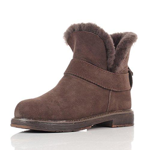 Schneestiefel Schnee Stiefel Frau Winter kurze Stiefel flache Schuhe Verdickung Student Baumwolle gepolsterte Schuhe Stiefel ( Farbe : Schokoladen-Farben , größe : 39 ) (Schokolade Jugend Schuhe)
