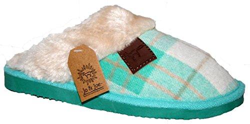 Ladies Tetbury pelliccia fodera pelliccia colletto basso top foderato inverno caldo slip on Mule Slipper by Jo e Joe Mint Green Check