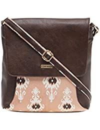 ESBEDA Dark Brown Printed Pu Synthetic Material Slingbag For Women