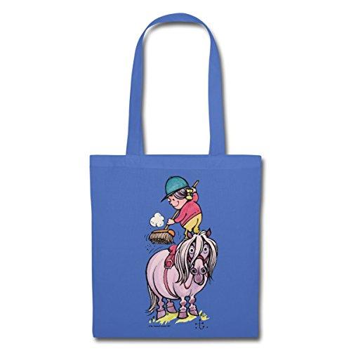 Spreadshirt Thelwell Reiter Striegelt Pferd Mit Besen Stoffbeutel Hellblau