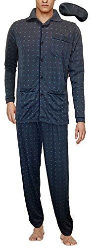 i-Smalls Männer Traditionelle Muster Flanell Weicher Baumwolle Pyjama Set mit Schwarzer Augenmaske Navy