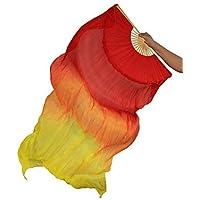 Danza Del Vientre Real Fan De Seda Costillas De Bambú Entrenamiento De Rendimiento Hecho A Mano Elástico Vibrante Profesional Naranja 1.8 M Largo L + R,L+R(1.8M)