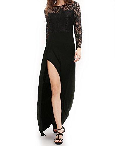Majamo Damen Kleid Abendkleid schwarz mit Spitze und Schlitz (Gatsby Kleid Billig)