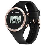 Armbanduhren Mode-Accessoires, M?dchen leuchtende wasserdichte Alarm Kalender Stoppuhr Digital Armbanduhr - schwarz