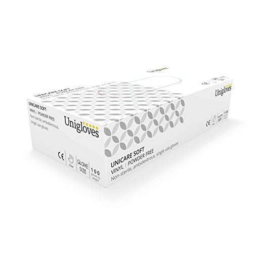 Unigloves UCV1204 Vinyl-Einmalhandschuhe, puderfrei, GrößeL, 100 Stück -