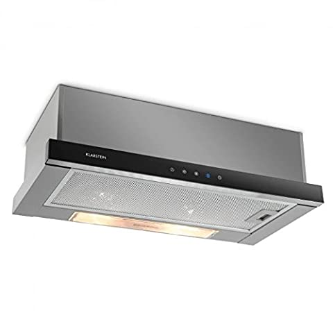 Klarstein Elitessa Cooker Hood • Recirculating Hood • 60cm • 330 m³/h Extraction Capacity • Extraction and Recirculation Mode • Automatic Timeout • Aluminium Grease Filters • Extendable Glass Front with Touch Panel • Suitable for Wall Mounting • Silver