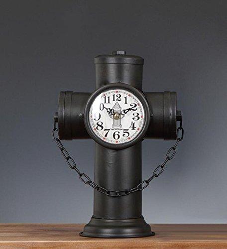 Antik-trödel (Retro Ornamente Schmiedeeisen Hydranten Uhr Kreative Persönlichkeit Dekorative Tischuhr Antike Uhr Shop Trödel Sitzen,Black-OneSize)