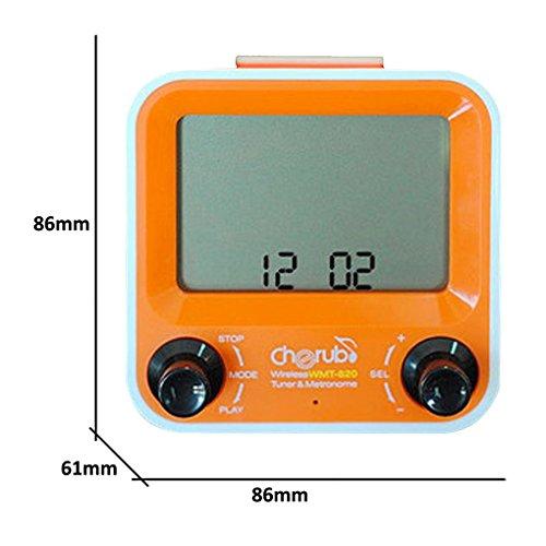 CHERUB WMT-820 Wireless Metro Tuner ORANGE Stimmgerät + Metronom + Uhr mit Alarm -