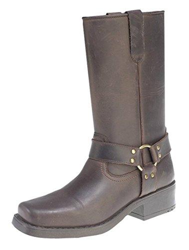 Western Boot Socken (Gringos Engineer Stiefel, Schlupfslip Western Schnalle Biker Boots, Braun - Braun - Größe: 44)