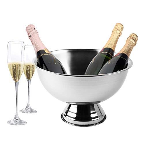 Krollmann Design Sektkühler aus Edelstahl Ø 40 cm Champagnerschale für bis zu 6 Flaschen - Flaschenkühler für den edlen Genuss von Champagner, Sekt, Wein, Spirituosen, Bier und vieles mehr