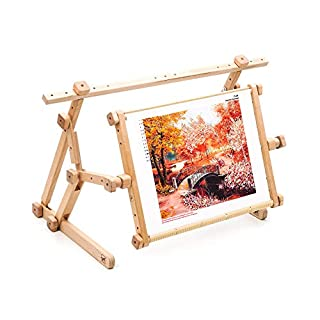 AllAboutEmbroideryUA Embroidery Adjustable Lap Table Stand Hands free Needlepoint Wooden Cross Stitch Scroll Frame Tapestry Holder Bed Table Stand craft tool (11.8