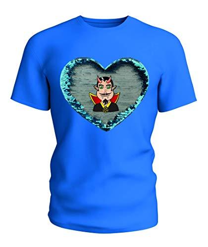 T-Shirt Wende Pailletten Menschen- Teufel- Vampir- Dracula- Halloween- HÖRNER- ZÄHNE- Urlaub- Charakter- Horror- BÖSE- DUNKEL- Fantasie- GRUSELIG- Gothic in Blau | 104-5XL