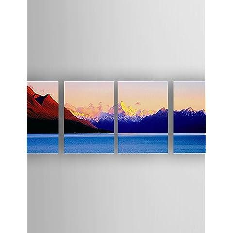 OFLADYH ® conjunto de aceite de la pintura de paisaje de la lona pintados a mano con 4 pcs estirada enmarcado listo para colgar