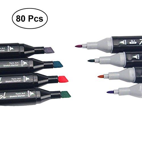 toymytoy 80Farben Marker Twin Marker Meißel für Zeichnen Art Supplies mit Schwarz Tragetasche - Flipchart-tragetasche