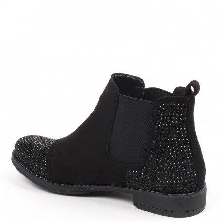 Ideal Shoes - Bottines style chelsea effet daim et incrustées de strass Meili Noir