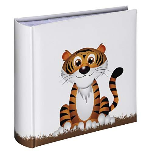 Hama Album photo Liam (album mémo de 100 pages, pour insérer 200 photos au format 10x15, motif Tigre, 22,5x22,5cm) blanc