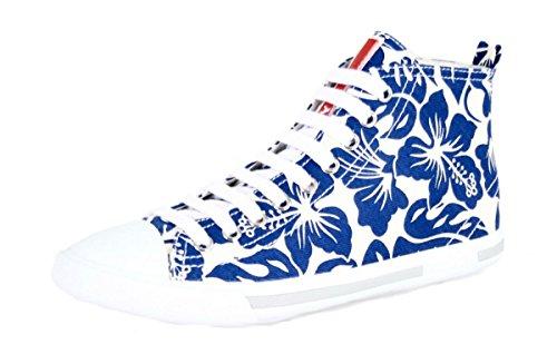Prada Damen 3t5731Stoff Turnschuhe/Sneaker, Bianco Bluette - Größe: 39 EU