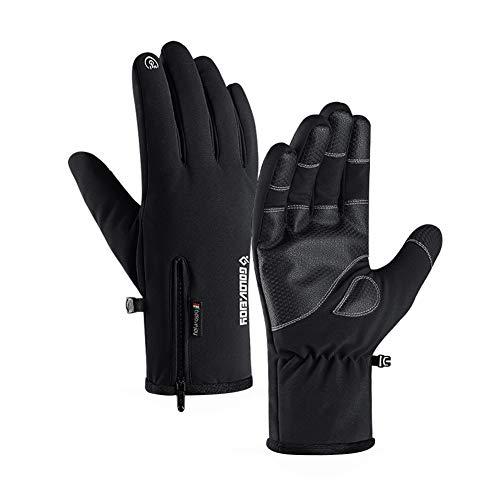 Asudaro Winter Wasserdichte Outdoor-Handschuhe Touchscreen-Handschuhe Verdicken Anti-Rutsch Radsport-Bergsport-Skihandschuhe Trainingshandschuhe Full Finger Laufhandschuhe für Männer Frauen Schwarz