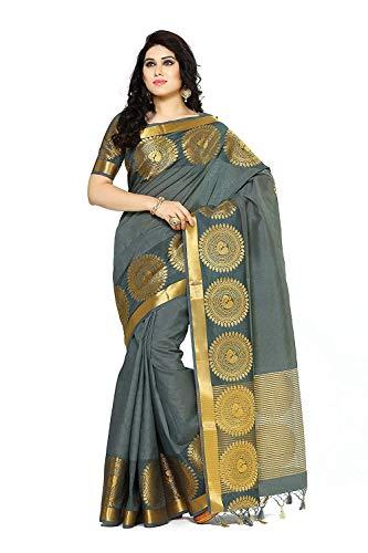 Kupinda Women's Tussar Silk Saree Banarasi Style Color : Charcoal Color Silk Saree