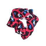Fascia Elastica per Capelli da Donna, in Gomma, Stile Boho, Vintage, a Contrasto, con Stampa Leopardata, Ideale per Acconciature Intime, 4 Colori Rosso