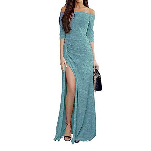 Zottom One-Shoulder-Tasche hip offenes Abendkleid Abendessen Frauen Schulterfrei Kleider High Split Maxi Lange Abendkleider (Mädchen Lila Kostüm Boa)