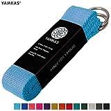 Yamkas Cinghia Yoga | 1.8M - 3M | Cinghie Yoga 100% Cotone | Cintura Yoga con Chiusura in Metallo | Yoga Stretching Belt Strap | Blu