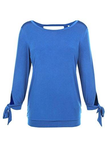 1a73678ab0b2 Kim Kara Damen Shirt Rundhals VAusschnitt Hinten Royalblau -friseur ...