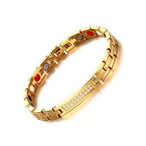 XGYUII Frauen Magnetarmband Edelstahl + Zirkon Magnetarmband Therapie Arthritis Relief Angst Schmerzen Mit Regler (Gold Farbe)
