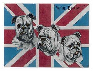 """Targa metallica con bandiera UK e Bull Dog, scritta """"We are ready"""" [lingua inglese]"""